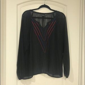CRUEL GIRL sheer black blue pink top blouse shirt